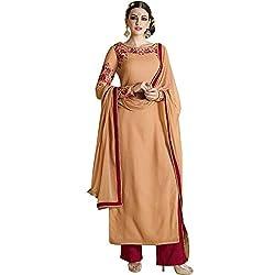 Vasu Saree Maroon & Orange Georgette Embroidery Palazzo Suit