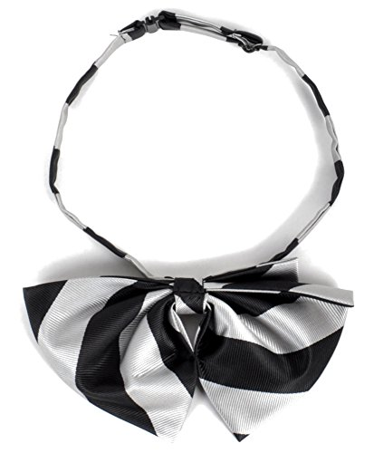 Striped Pre Knotted Ladies Bow Tie, Black Silver