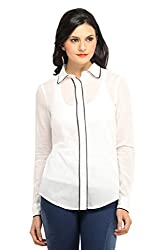 Ladybug Women Sheer Shirt with Contrast Piping