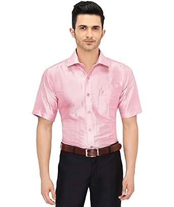 Mens half sleeve shirt slub silk dupion material shirt for Mens silk shirts amazon