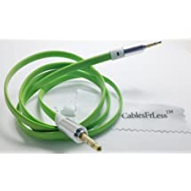 CablesFrLess 3ft 3.5mm Flat Noodle Tangle Free Auxiliary (AUX) Cable (Green)