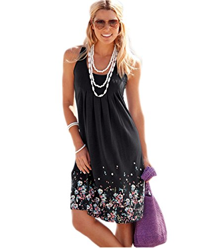 Akery Womens Summer Casual Sleeveless Mini Printed Vest Dresses (XL, Black)