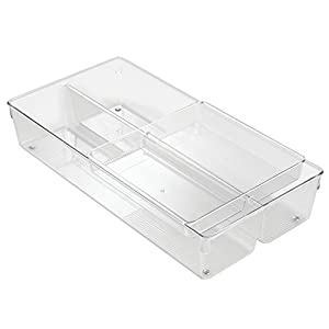 mDesign BBQ Grill Accessories Drawer Organizer for Cooking Utensils - 2-Tier, Clear