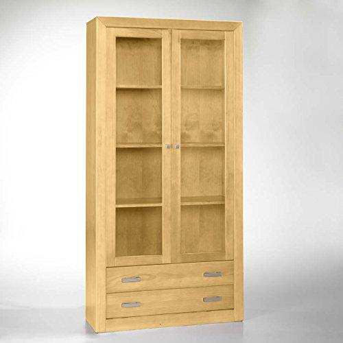Vetrina 2 ante in legno grezzo di pino 2 ante con vetro e 2 cassetti ...