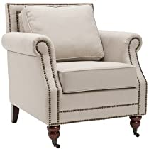 Safavieh Mercer Collection Ellen Linen Club Chair, Light Grey
