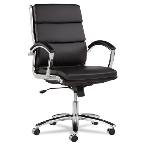 Alera Neratoli Mid-Back Swivel/Tilt Chair, Black Soft-Touch Leather