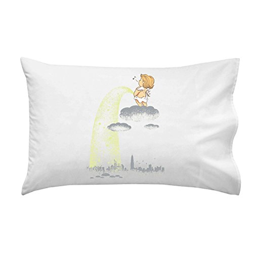 """Rainy Day"" Funny Baby Angel Pee On City - Pillow Case Single Pillowcase front-933085"