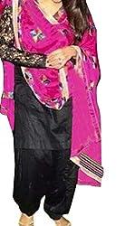 Janasya Women's Black Embroidered Cotton Semi-Stitched Salwar Suit