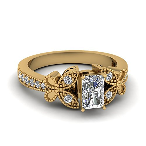 Fascinating Diamonds 0.70 Ct Radiant Cut:Very Good Diamond Butterfly Style Engagement Ring 14K Gia