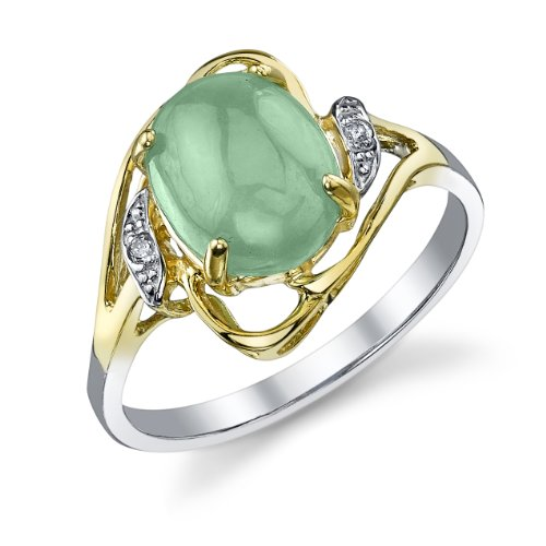 Sterling and 14K Yellow Gold Oval Jade Flourish Ring with Diamond Accents