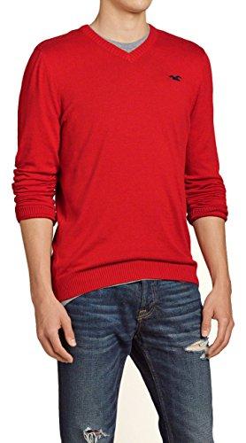 hollister-mens-slim-fit-v-neck-sweater-jumper-pullover-size-m-red-617022841