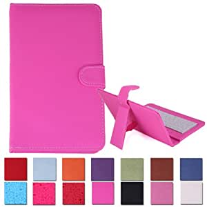 """HDE Hard Leather Folding Folio Case Cover with Keyboard for 7"""" Tablet (Hot Pink)"""
