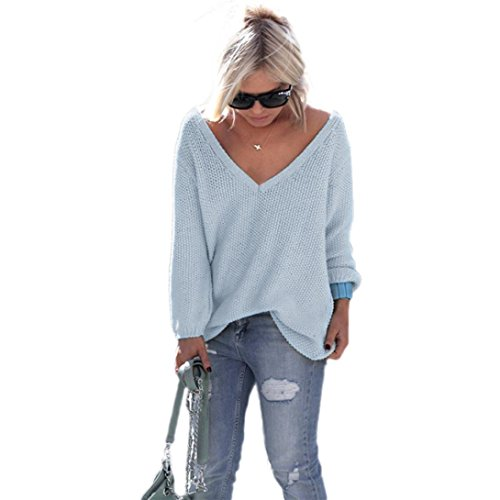 EKIMI Women Long Sleeve V Neck Losse Knitted Pullover Sweater Tops Knitwear (Blue)