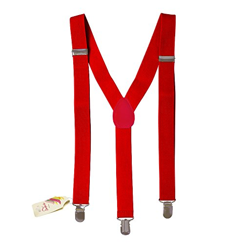 Suspenders - Solid Red Braces By CoverYourHair®