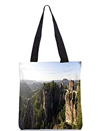 Snoogg Hill Tops Digitally Printed Utility Tote Bag Handbag Made Of Poly Canvas