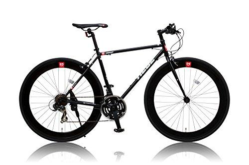 CANOVER(カノーバー) 700×25C クロモリフレーム クロスバイク シマノ21段変速ラピッドファイヤー 前後ディープリム 重量:11.2Kg LEDライト標準装備 CAC-024 HEBE(ヘーベー) ブラック