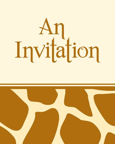 Creative Converting Animal Print Giraffe You're Invited Party Invitations, 8 Count - 1