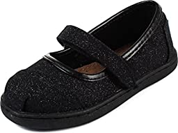 Toms - Tiny Mary Jane Shoes In Black Glimmer, Size: 11 M US Little Kid, Color: Black Glimmer