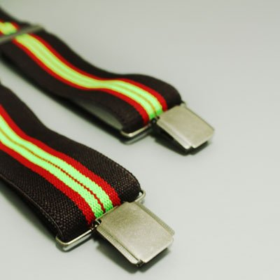 Classic Men's green red black Suspenders for work X-Back genuine Leather Adjustable for sizes SP1006