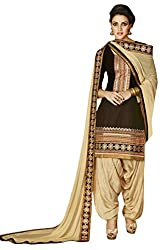 Kvsfab Brown (Crepe printed) patiala suit for women