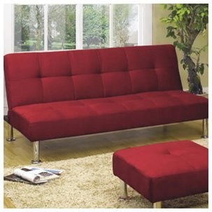 Furniture2go UFE-1103 Amelia Red Futon, 1pc Futon Only - Microfiber Suede