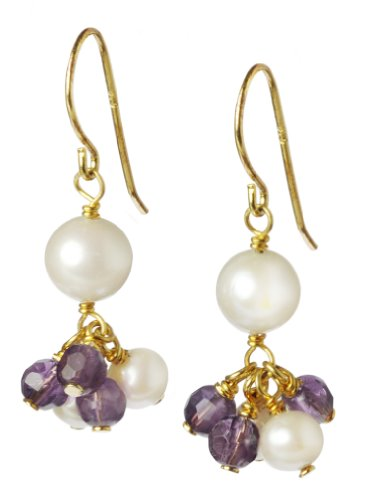 Amethyst and Freshwater Cultured Pearl Cluster with White Freshwater Cultured Pearl Accent Earrings