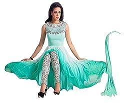 Ivo Gini Georgette, Net, Silk Embroidered Semi-stitched Salwar Suit Dupatta Material