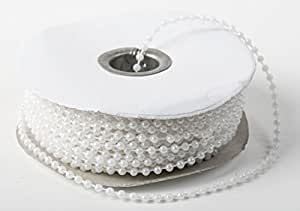 3mm Faux Pearl Plastic Beads on a String Craft Roll White