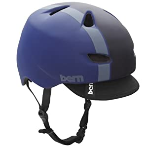 BERN Brentwood Summer Matte Helmet with Visor (Midnight Blue Bomber, Large)