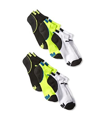 PUMA Men's P104948ZZ730 6 Pack Low Cut Socks, White/Black/Yellow, One Size