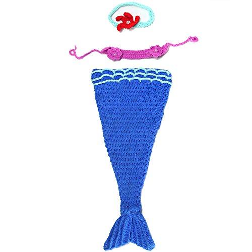 JISEN sirenetta all'uncinetto per neonata, fatto a mano, lavorato a maglia, Unisex bambino, completo di ricambio per foto, Pantaloni da sci con bretelle, colore: blu