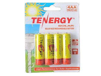 1 Card: Tenergy AA 1000mAh NiCd Rechargeable Batteries for Solar Lights (Intermatic, Malibu etc.)