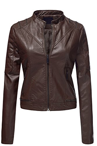 Pu Quilted Moto Biker Faux Leather Jackets YFFJ , 006-Cocoa, US M Quilted Thermal Vest