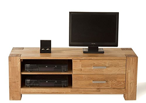 SAM-TV-Board-Zeus-1615-01-130-cm-TV-Schrank-aus-teilmassiver-Wildeiche-in-natur-mit-zwei-Schubksten-und-zwei-Ablagefchern-fr-Receiver-DVD-Recorder-Blu-Ray-Player