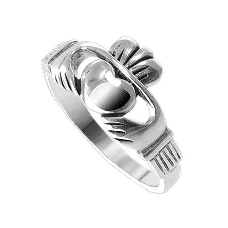 LWRS202 .925 Sterling Silver 10mm Claddagh Heart Polished Finish 2mm Wide Band Ring Size 5, 6, 7, 8, 9, 10