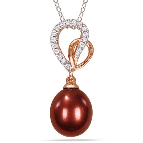 Two-tone Silver FW Pearl and 1/8ct TDW Diamond Necklace (G-H, I3) (9.5-10 mm)