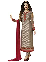 Justkartit Women's Semi-Stitched Free Size Beige Colour Embroidery Salwar Kameez For Social Gathering & Functions / High Quality Georgette + Embroidery Rich & Simple Looking Salwar Suit