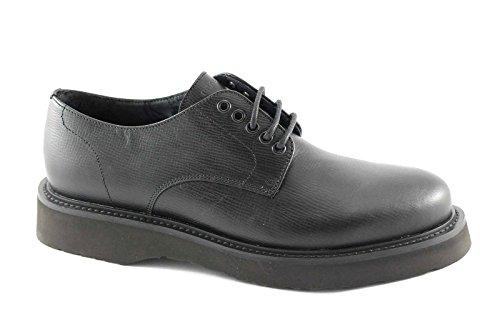 FRAU 74X5 asterix eva nero scarpe uomo derby liscio pelle lacci 43