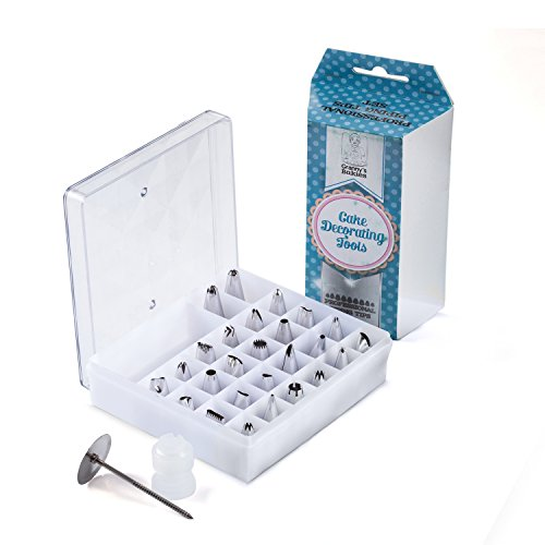 Cake Decorating Tips 28 Piece Set - Premium Baking Tools includes 26 Stainless Steel Icing Piping Tips Nozzles, one Coupler, one Flower Nail and Storage Case for Cakes, Cupcake, Cookies, Pastry