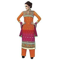 De Marca Orange Net Designer Celeb3437 Dress Material