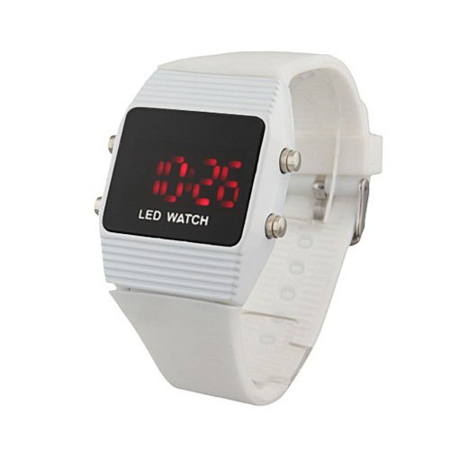 Baolihao-Silicone White Band Sports Style Unisex Red Light Led Wrist Watch Wth0332