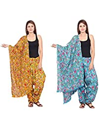 Rama Set Of 2 Floral Print Yellow & Sky Blue Colour Cotton Full Patiala With Dupatta Set