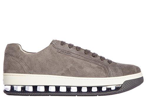 Prada scarpe sneakers uomo camoscio nuove vintage grigio EU 41 4E2701 O53 F073E