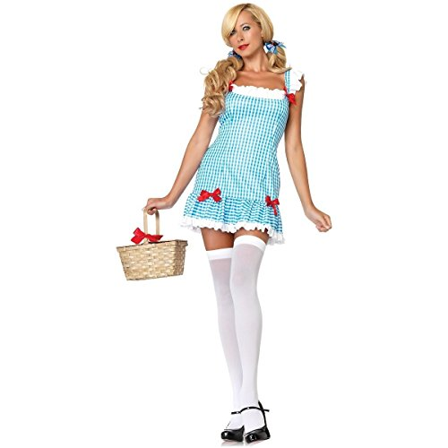 [GSG Dorothy Costume Adult Womens Sexy Wizard of Oz Halloween Fancy Dress] (Little Girl Skeleton Costumes)