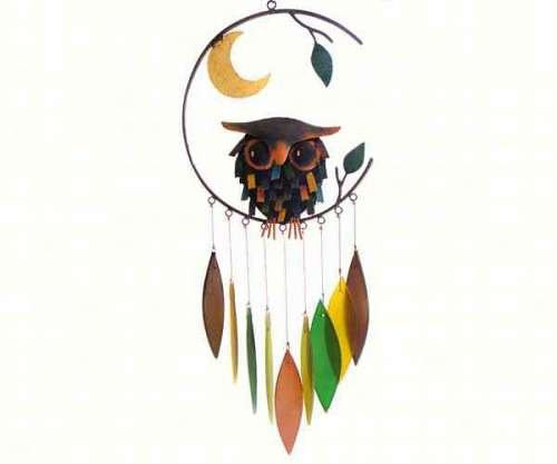 Gift Essentials Spiky Owl with Moon Wind Chime