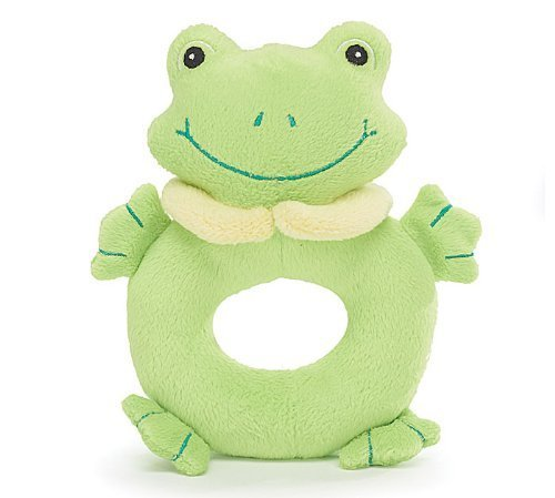 "Plush 6""H Green Frog Baby Rattle with Embroidered Face Great Baby Shower Gift - 1"
