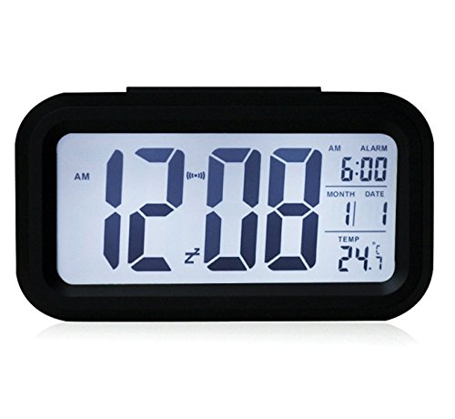 EIALA 4.2 x 2 inch Silent Alarm Clock with Date Temperature Display, Repeating Snooze, Sensor Light and Night Light Progressively Louder Alarm - Black