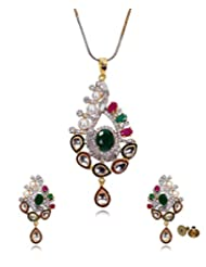 Fashionable Wedding Collection 22k Gold And Rhodium Plated Cubic Zirconia Kundan Work Pendant Set For Women By...