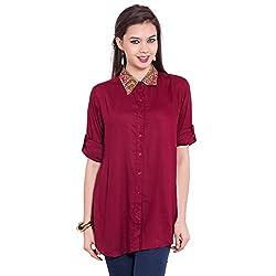 TUNTUK Women's Wrinkle Shirt Maroon Viscose Shirt