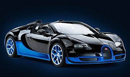 Radio Remote Control 1/14 Bugatti Veyron 16.4 Grand Sport Vitesse Licensed RC Model Car (Black/Blue)